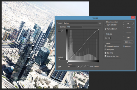 Curves dialog over image Photoshop CC Windows
