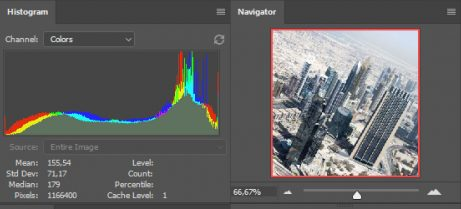 histogram and navigator wide photoshop CC