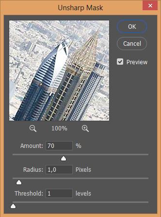 Unsharp mask dialog screen shot Photoshop CC Windows