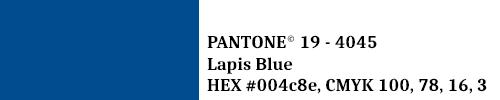 PANTONE 19-4045 Lapis Blue HEX #004c8e CMYK 100, 78, 16, 3