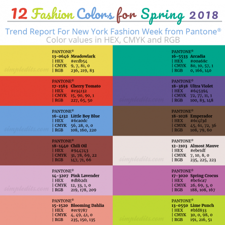 top 12 pantone colors for spring 2018 with hex cmyk and rgb values photo editing how to blog. Black Bedroom Furniture Sets. Home Design Ideas