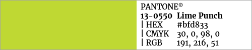 Swatch color Pantone 13-0550 Lime Punch
