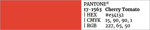 Swatch color Pantone 17-1563 Cherry Tomato