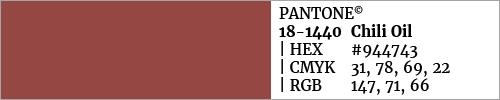 Swatch color Pantone 18-1440 Chili Oil