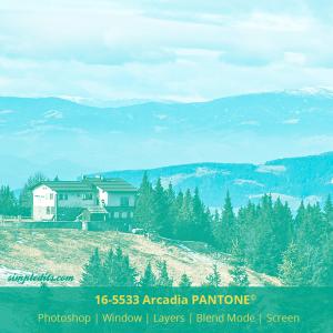 PANTONE color 16-5533 Arcadia applied to image Ribniska Koca Slovenia