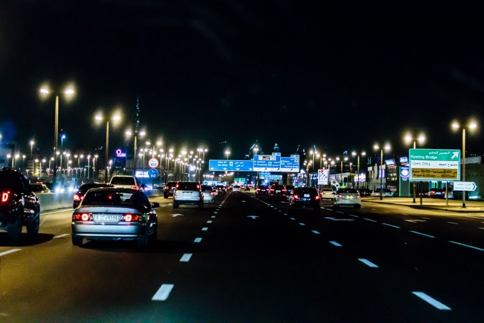 Dubai motorway by night