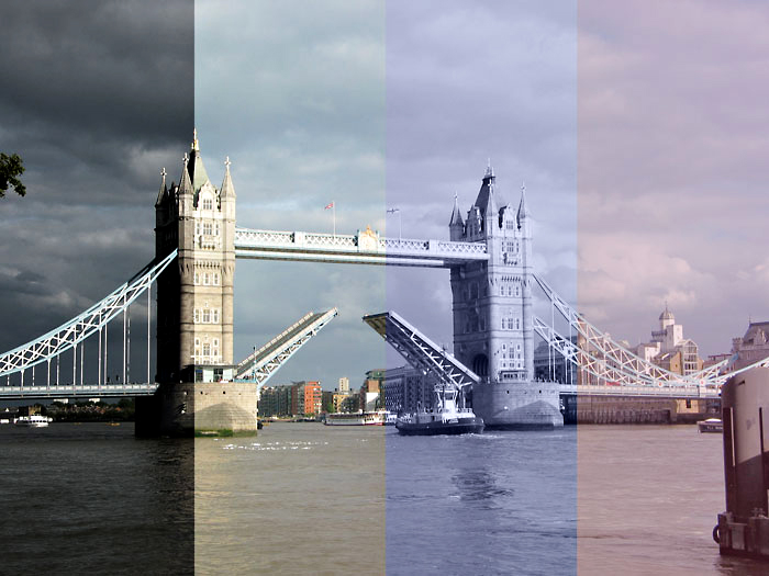 photo of London Bridge with 4 photography styles in stripes