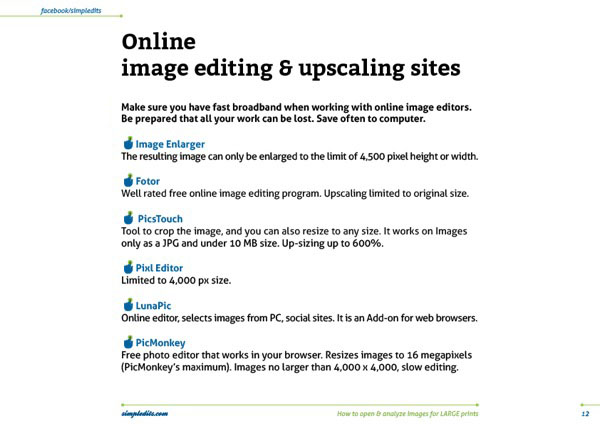 How to open & analyze images for LARGE prints page eBook preview from SImpledits.com