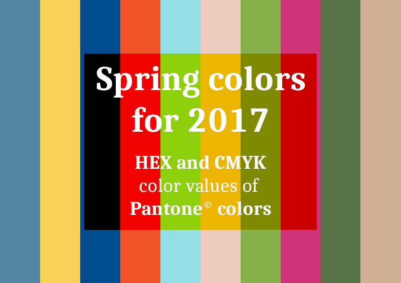 HEX and CMYK values of Pantone colors for Spring 2017 PANTONE Fashion Color Report Spring 2017
