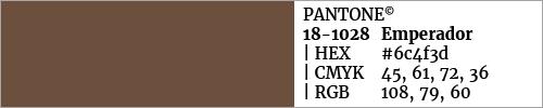 Swatch color Pantone 18-1028 Emperador