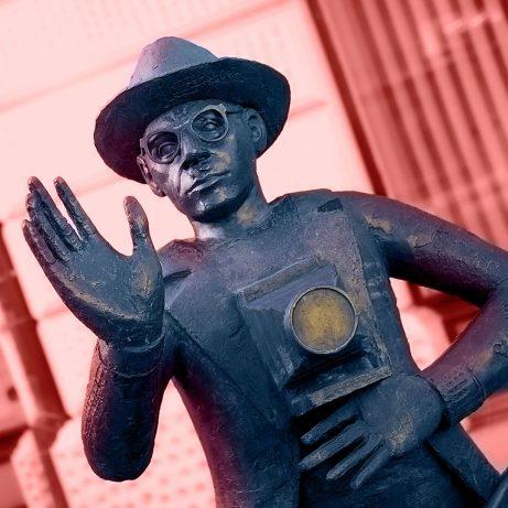 Image color grading photographer statue of Josip Pelikan in Celje, Slovenia