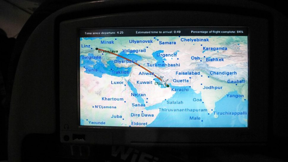 airplane screen monitor of the flight to Dubai