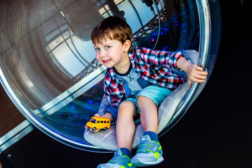 David in the bubble seat at Burj Khalifa