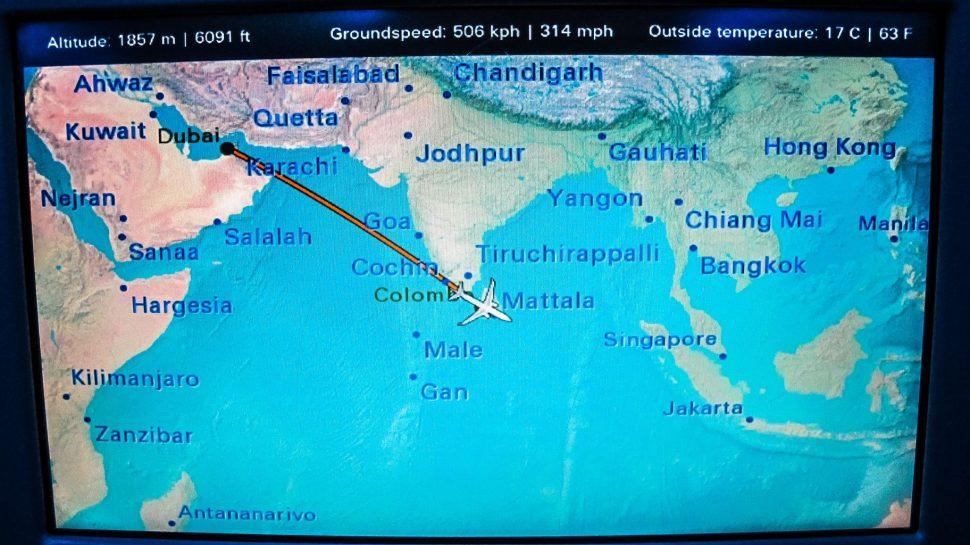 monitor seat screen of flight from Dubai to Sri Lanka
