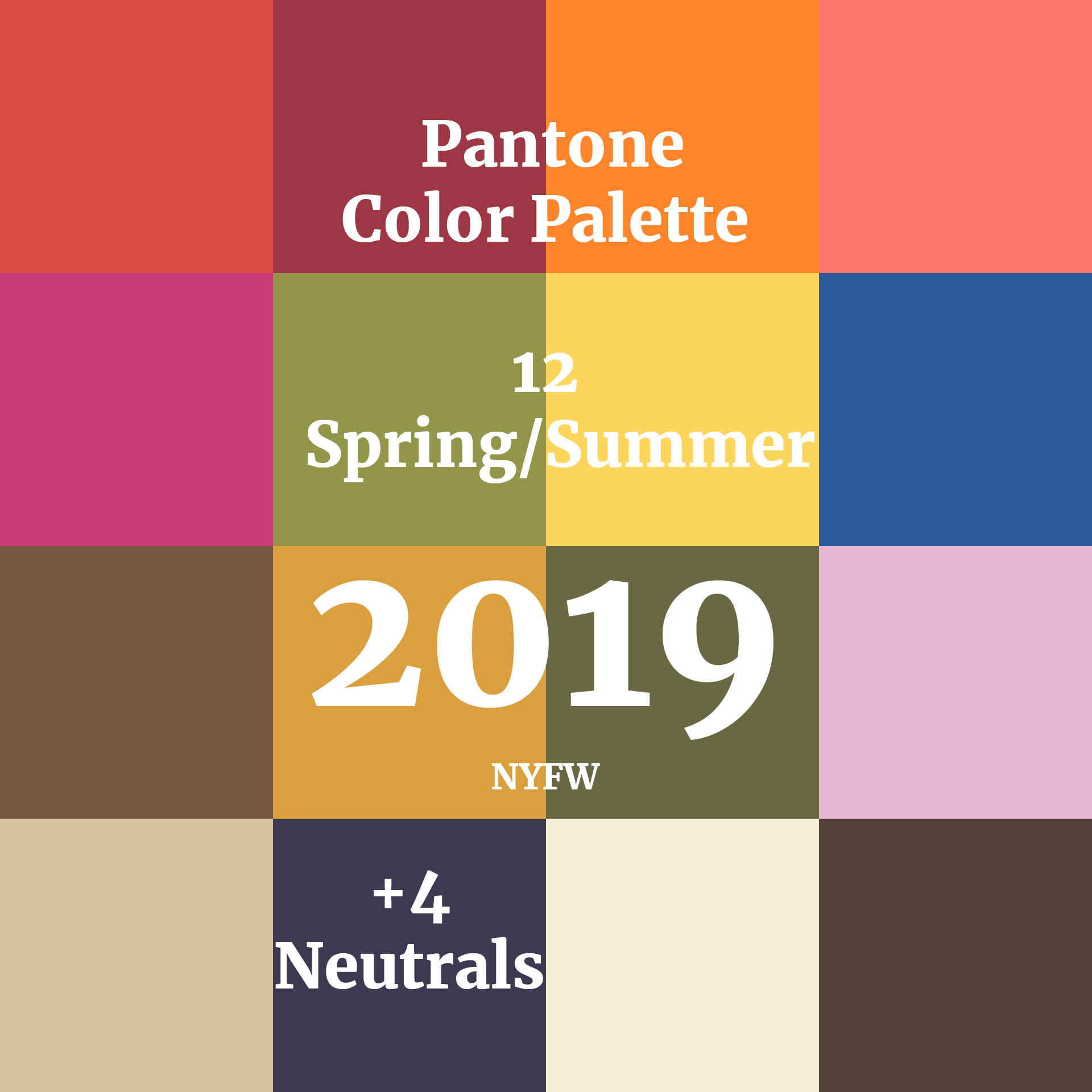 Swatches for Color Palette Pantone Spring Summer 2019