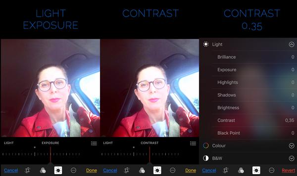 iPhone editing Photos Contrast