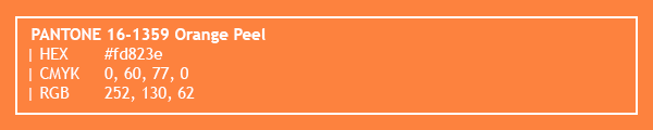 color swatch 2020 PANTONE 16-1359 Orange Peel