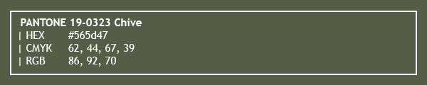 color swatch 2020 PANTONE 19-0323 Chive