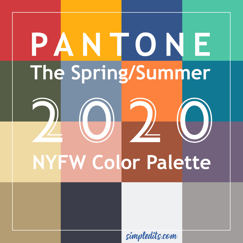 SpringSummer Pantone color Swatches for 2020