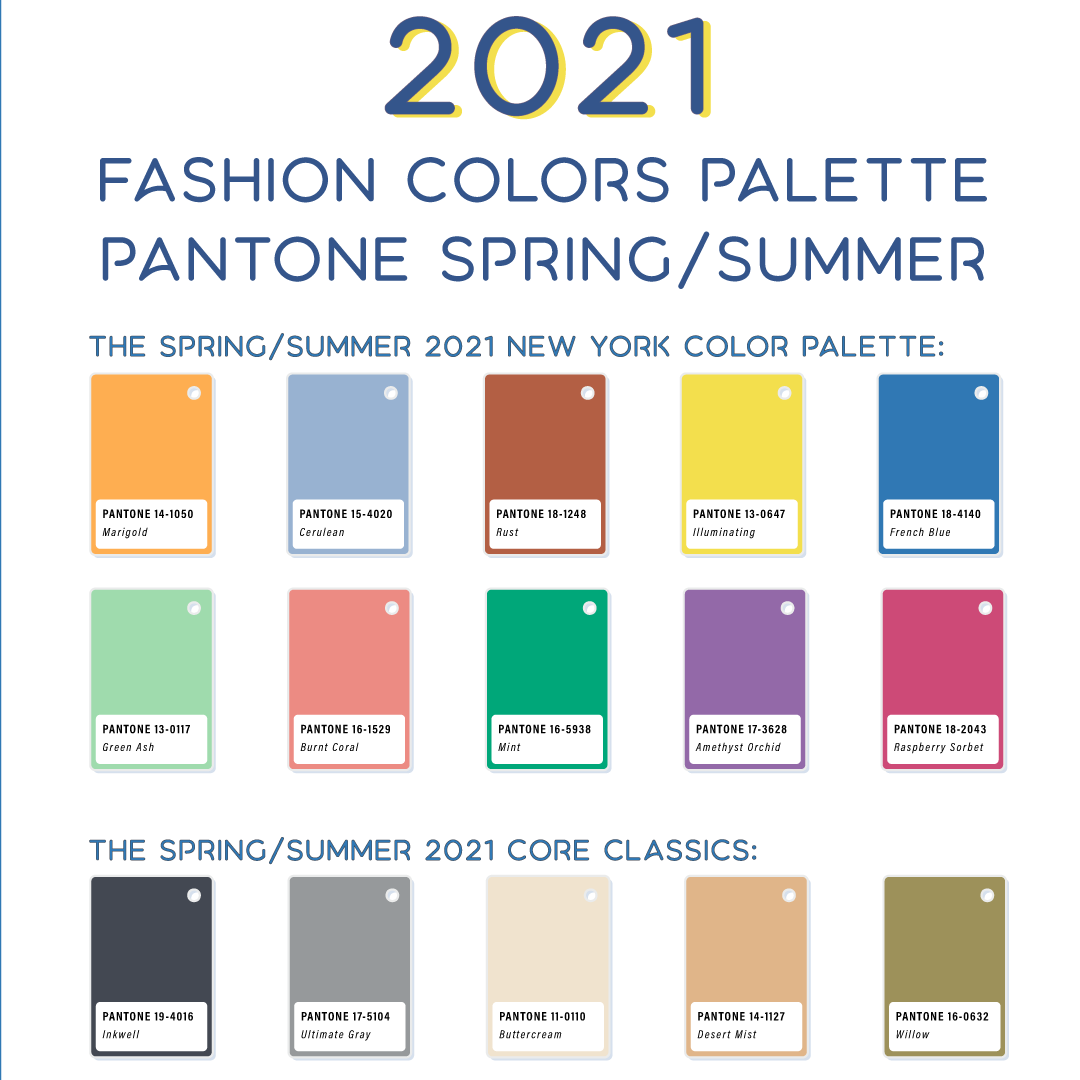 Color palette Pantone for Spring Summer 8 Fashion Trend
