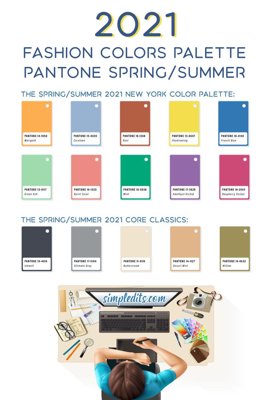 2021 Pantone Color palette Spring Summer