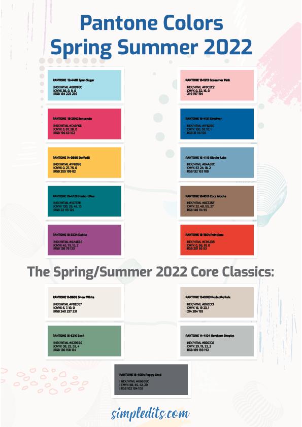 Pantone Colors Spring Summer 2022